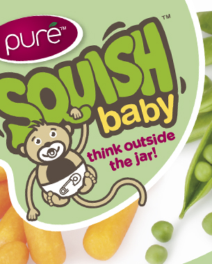 The Squish Baby logotype was designed as part of a brief to design a range of baby food packaging. The logotype needed to feel part of the same family as the client's existing range of puréed fruit smoothies, branded Squish. Using visual cues from the existing Squish range, a softer version of the logotype was developed, to create a more baby-friendly feel. The existing Squish toddler range used a monkey character as a primary graphic device, so a baby monkey was introduced as part of the Squish Baby logotype. The baby monkey was further developedto not have a dummy. The logotype colour uses a slightly fresher green. Colours were chosen so as to work with the various flavour colours in the range.