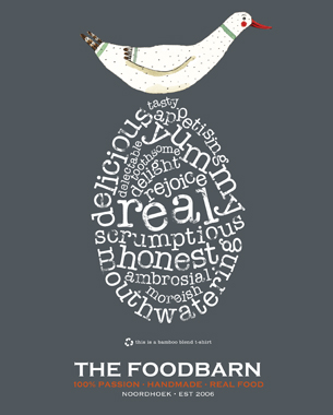 The Foodbarn required a series of T-shirts to be designed. These were to be worn by their staff and could also be purchased from the deli shop. With a very strong identity already in place with their distinctive goose, it was important to retain this key element while creating designs that encapsulated the Foodbarn's offering.