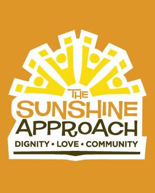The Sunshine Approach is the name given to the company philosophy of the Sunshine Nut Company, which aims to uplift  with their unique business model. The logotype need to reflect upliftment, without the expected hand imagery, and instead uses a strong sun graphic made up of 4 figures with their hands raised.